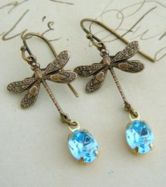 Earrings Dragonfly  Vintage Blue by chloesvintagejewelry on Etsy, $24.00