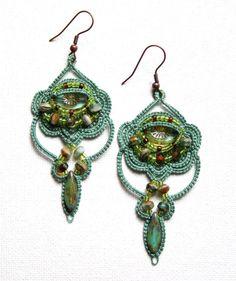 Chandelier Style Tatting Beaded Fern Green Earrings by KnotTherapy, $26.00