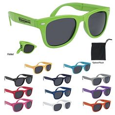 Promotional Folding Malibu Sunglasses | Customized Folding Sunglasses | Logo Sunglasses. #promoproducts #sunglasses