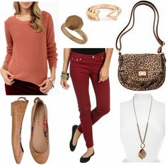 CF Fabulous Find Forever 21 Open Knit Sweater Outfit 2: For a more laid-back look, pair the sweater with some trendy oxblood skinny jeans. Neutral-colored flats continue the casual vibe, while a leopard print bag adds a fun touch. Accessorize with several unique rings and a statement-making agate stone necklace for a stylish and comfy autumn outfit.