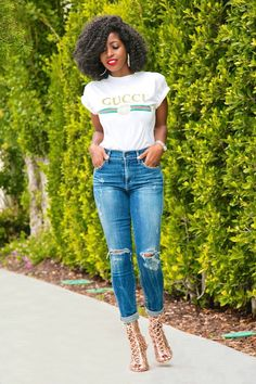 Style Pantry | Gucci Print Tee + High Rise Distressed Jeans