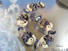 CELINE Artisan USA ~ 11  PURPLE  NAVY  RAKU IVORY focal glass lampwork beads SRA