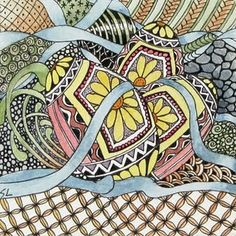 eggs and ribbon zentangle