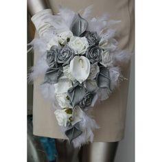 """Résultat de recherche d'images pour """"bouquet de fleur mariée ton gris argent blanc"""""""
