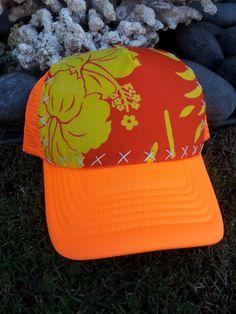 Trucker Hat Neon Orange w/Hand Stitched Vintage by AumoanaDesigns, $25.00