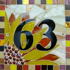 Custom Made Mosaic House Numbers Signs