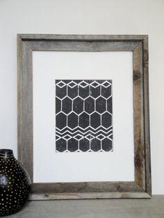 SALE - Print - Geometric Pattern Linocut / 8 x 10 Wall Art / Black, Gold, Silver, Blue, Green, Yellow, Red