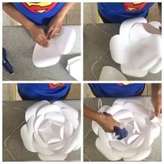 Paper flower Da o play e confere! Video by Large Paper Flowers, Big Flowers, Paper Roses, Crepe Paper Flowers Tutorial, Paper Flower Backdrop, Mickey Y Minnie, Flower Template, Handmade Flowers, Flower Making