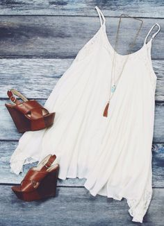 slip dress + wedges