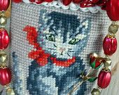 Vintage Grey Tabby Kitty Needlepoint Handbag