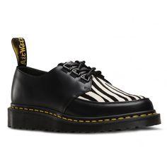 Dr Martens Ramsey Zebra Unisex Leather Creeper Style Shoes - Black Zebrino b41c94a49