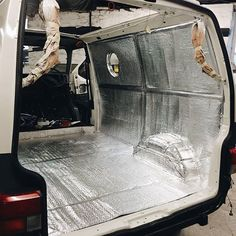 Space Van! We have finished insulating today, a layer of high density foil covered foam board and bubble wrap foil insulation. Sealed into the panels to deter condensation. The sound deadening around the arches and cab is to take away engine/road noise. Tomorrow we are re ply lining and putting down our new floor. The new tailgate and sliding door is also on the paint booth ✌ open road- we will see you very soon.  Ps thank you to everyone who has ordered our book the past few weeks. Its all…