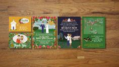 Custom Illustrated Wedding Invitations by chicksnhens on Etsy, $330.00
