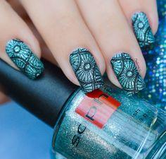 Stamping Over Texture ~ Sophin Cosmetics No 300 'Blue Glacier' and Born Pretty BP-L003 ~ by Nail Art Sakura