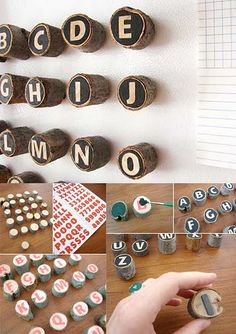 Magnets: Wood + alphabet stickers