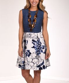 Look what I found on #zulily! Blue & Ivory Floral Fit & Flare Dress #zulilyfinds