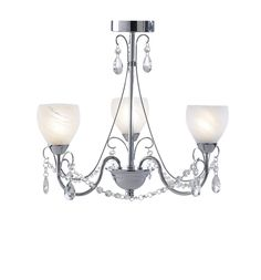 CRA0350 Crawford Bathroom 3 Light Semi Flush Fitting in Chrome Bathroom IP44 Rated Alabaster Glass with beads and droppers 3 x 25W G9 Lamps included Height 37cm Diameter 45cm