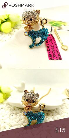 💋BJ Novelty Rhinestone Cat Necklace Brand new with tag! Cutest gold necklace accented with blue and silver rhinestones! This cute kitty's head is movable! Betsey Johnson Jewelry Necklaces