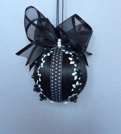 Black & White Collection/ Black Christmas With White Star Sequins/Handmade