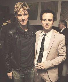 Benedict Cumberbatch & Andrew Scott. Good friends, Sherlock & Moriarty.