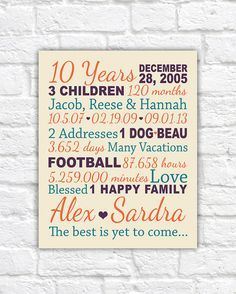 Anniversary Gift for 10 Years, 20 years, Gifts for Him, Paper, Canvas Anniversary, 10th Anniversary Present, Kids Names, Family | WF79