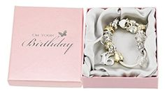 16th Birthday Charm Bracelet with Hearts, Stars and Rings By Haysom Interiors $29.99 https://www.amazon.com/gp/product/B00KFJU9T8/ref=as_li_tl?ie=UTF8&tag=veganchic-20&camp=1789&creative=9325&linkCode=as2&creativeASIN=B00KFJU9T8&linkId=d0c28d660f62c6d01a5367afef61a22e