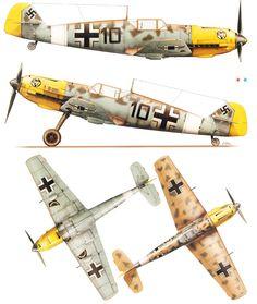 Messerschmitt Bf 109E7Trop 2.JG27 Black 10 Libya 1941.Kagero top colors .