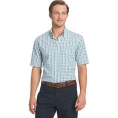 Men's Arrow Hamilton Classic-Fit Plaid Poplin Button-Down Shirt, Size: Medium, Blue Other