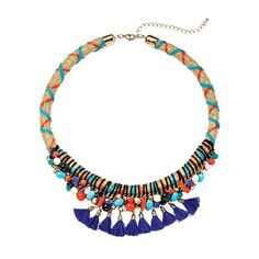 It's time to party with bright colors and bold patterns.Fabric cord necklace with blue and coral thread wrapped in an x-style pattern around the necklace. Collar portion includes the blue and coral cord as well as black cord that is attached to multi-colored beads in the front of the necklace. $38 Buy Avon Online www.youravon.com/adavis0493