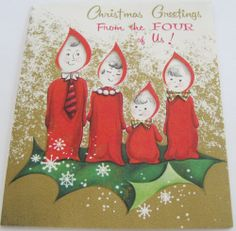 Vtg Christmas Card 1940's & 1950's Cut-Out Christmas Candle People