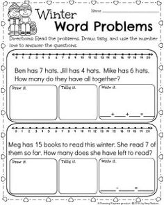 1st grade Winter Math Worksheets for February - Word Problems Under 20.