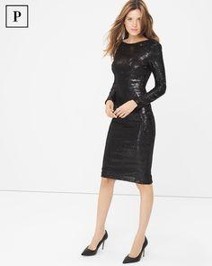 Long Sleeve Black Sequin Sheath Dress