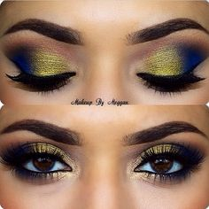 Color combo to try, navy blue (instead of black) and gold smokey