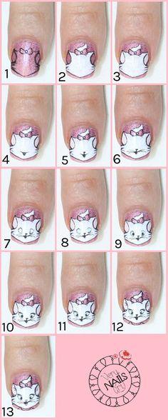 Cat Nails, Coffin Nails, Short Nails Art, Pin On, Disney Nails, Dream Nails, Nail Tutorials, Press On Nails, Nail Arts