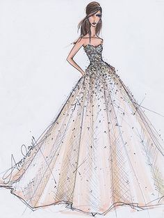 Glitzy ball gown fashion sketch