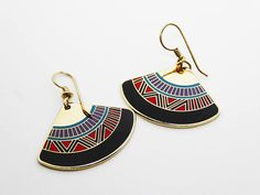 New Listings Daily - Follow Us for UpDates -  Laurel Burch Tribal Earrings for Pierced Ears - Wire Hook Earrings - Colorful Multi Colored Enamel Design - Signed Laurel Burch #Jewelry offered by #TheJewelSeeker on Etsy.  ... #vintage #jewelry #teamlove #etsyretwt #ecochic #thejewelseeker