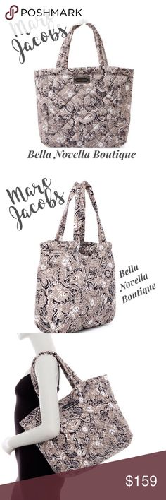"Marc Jacobs Quilted Paisley Tote COMING SOON Marc Jacobs Quilted Paisley Tote in Grey Multi pattern. Dual top handles, magnetic closure, print quilted construction & logo hardware. Interior wall zip pocket and wall slip pocket. Size approx. 14""H X 19""W X 4.5"" D. Handle drop approx 9"" Marc Jacobs Bags"