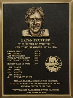Bryan Trottier's Hall of Fame plaque.