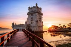 Sunset at Torre Belem, Lisbon, Lisboa, Portugal Places In Portugal, Visit Portugal, Portugal Travel, Cool Places To Visit, Places To Travel, Places To Go, Amazing Hd Wallpapers, European City Breaks, Castle Pictures