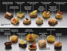 Collection of canapes. Interesting shapes and layers