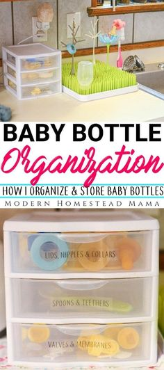 Baby Bottle Organization: How I Organize and Store Baby Bottles | Modern Homestead Mama #homeorganization #organization #babyprep #preparingforbaby #thirdtrimester #pumpingtips #modernhomesteadmama
