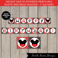 INSTANT DOWNLOAD Mickey Mouse Inspired Happy Birthday Banner by PamelaReneeDesigns, $3.00. Printable DIY. Perfect for your Mickey themed birthday party! Name customization available for additional fee.