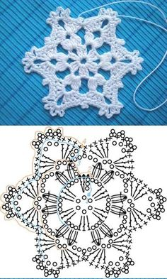 Wonderful DIY Crochet Snowflakes With Pattern - Szydełko Crochet Snowflake Pattern, Christmas Crochet Patterns, Crochet Christmas Ornaments, Crochet Stars, Holiday Crochet, Crochet Snowflakes, Snowflake Ornaments, Christmas Knitting, Christmas Star