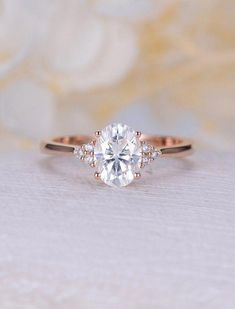 Vintage Moissanite engagement ring rose gold oval engagement ring diamond cluster ring wedding Bridal Jewelry Anniversary gift for women - Moissanite engagement ring rose gold engagement ring vintage Diamond Cluster ring wedding Bridal Se - Wedding Rings Vintage, Vintage Engagement Rings, Oval Wedding Rings, Gold Wedding, Simple Elegant Engagement Rings, Cheap Engagement Rings, Minimalistic Engagement Ring, Wedding Bands, Vintage Bridal
