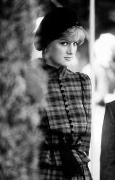 Diana, wears tartan by Caroline Charles and a beret to the Braemar Games, September 1981