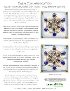 Calm Communication w_ Affirmation Crystals Minerals, Crystals And Gemstones, Stones And Crystals, Healing Stones, Healing Herbs, All Things Crystal, Crystal Meanings, Crystal Grid, Chakras