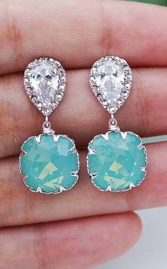 """Sea Foam Mint Pacific Opal Swarovski Square Crystal Jewelry Set... stunning for your """"something blue"""""""