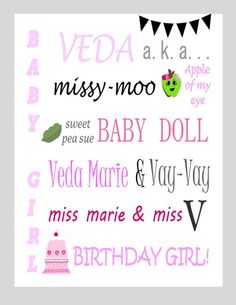 Customized nick name printable for birthday parties. www.partymommies.com
