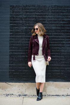 Burgundy Leather Jacket, Leather Jacket Dress, Suede Moto Jacket, Winter Dress Outfits, Evening Outfits, Midi Dress Outfit, Bodycon Dress, Long Sweater Dress, Knit Dress