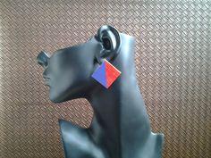 red-purple-wood-diamond-stud-earrings by IMIAccessories